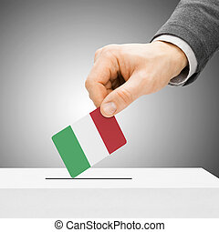 Voting concept - Male inserting flag into ballot box - Italy