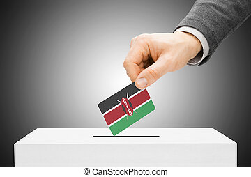Voting concept - Male inserting flag into ballot box - Kenya