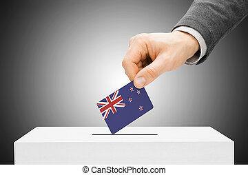Voting concept - Male inserting flag into ballot box - New...