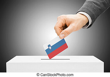 Voting concept - Male inserting flag into ballot box - ...