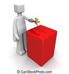 Voting elections or petition concept - Man putting a ballot ...