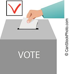 Voting - Hand with blank paper inserting it into voting box....