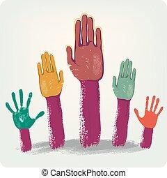 Voting hands