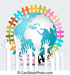 Voting Hands - Paper Cut Palm Hands Set Vector Illustration and People Holding Hands Around Globe - Earth Vector