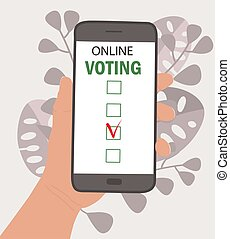 voting., outdoor., 手, questionnaires, 背景, スクリーン, オンラインで, democracy., 手掛かり, 葉, どこでも, 大統領である, 選択, モビール, 選挙, 投票, 適用, 概念, 電話。, インターネット