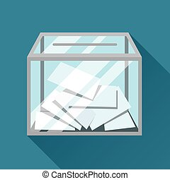 Voting papers in ballot box. Political elections...