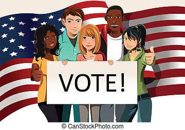 Voting people - A vector illustration of a group of young ...