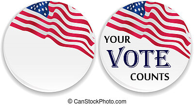 Voting pins with US flag and blank