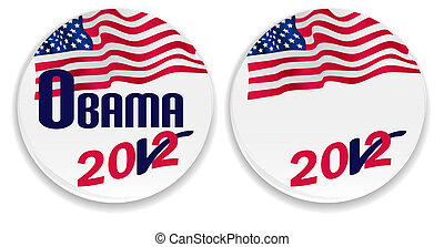 Voting pins with US flag with 2012 Obama and blank