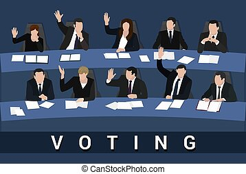 Voting Raised hands of businessmen and