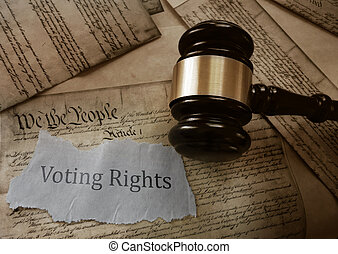 Voting Rights concept - Voting Rights news headline on a...