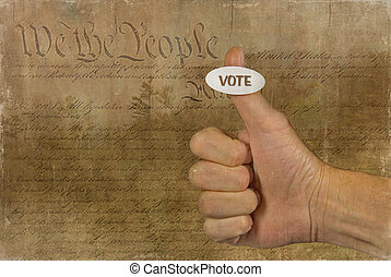 Man's thumb with a voting sticker and old American document background.