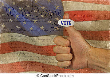 Voting sticker on thumb - Sticker on man's thumb with old...