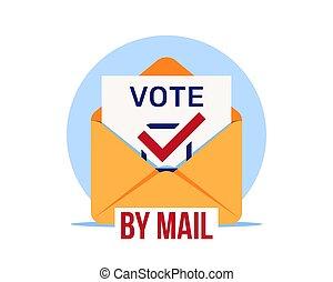 voting., vecteur, lointain, vote, enveloppe, ouvert, courrier, vote, icon., papier