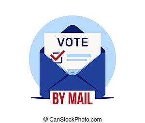 voting., vote, élection, lointain, mail., enveloppe, vote
