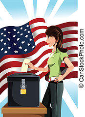Voting woman - A vector illustration of a woman inserting ...
