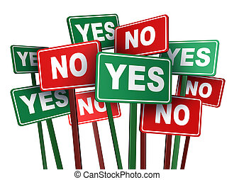 Voting yes or no with opposing and conflicting green and red campaign signs representing politics and important political issues that divide social opinion resulting in mass protest and demonstrations.
