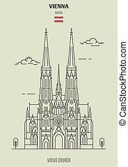 Votive Church in Vienna, Austria. Landmark icon