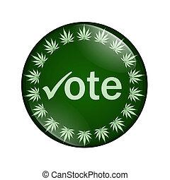 voto, a, legalize, marijuana, botón