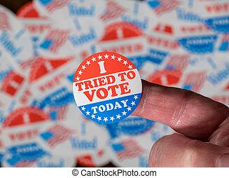 voto, adesivo, obtendo, tentado, problemas, dedo, emblemas, votando, frente, eleição, muitos