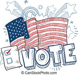 voto, americano, eleição, esboço