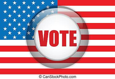 voto, americano, fundo, bandeira, eua