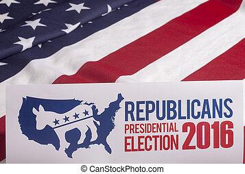 voto, bandeira, republicano, americano, eleição