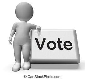 voto, botão, com, personagem, mostra, opções, votando, ou,...