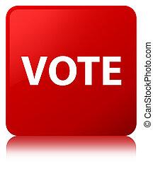 voto, botão, quadrado, vermelho