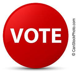 voto, botão, redondo, vermelho