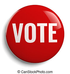 voto, botão, redondo, vermelho, símbolo