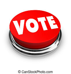voto, botão, -, vermelho