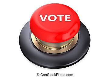 voto, botão, vermelho