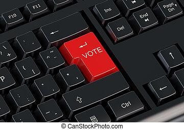 voto, botão, vermelho, teclado