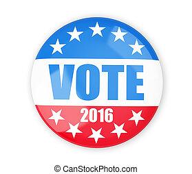 voto, botón, 2016, insignia, elección