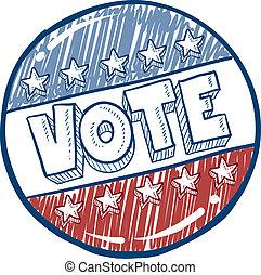 voto, botón, bosquejo, campaña