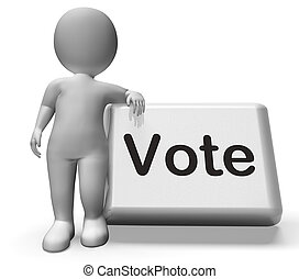 voto, botón, con, carácter, exposiciones, opciones,...
