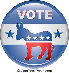voto, botón, demócrata