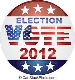 voto, botón, elección, ilustración, 2012