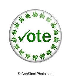 voto, botón, legalize, marijuana