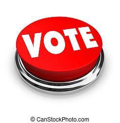 voto, botón, -, rojo