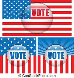 voto, buttons., jogo, três, fundo