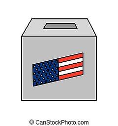 voto, caixa, isolado, eua, desenho, vetorial