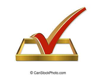 voto, caja, cheque, 3d