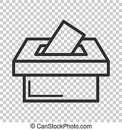 voto, caja, concept., empresa / negocio, vector, fondo., votante, sugerencia, aislado, icono, papeleta, style., elección, plano, ilustración