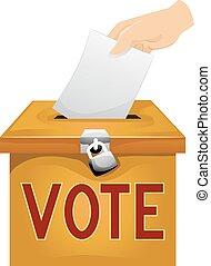 voto, caja, papel, papeleta, mano