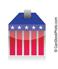 voto, caja, poll, papeleta