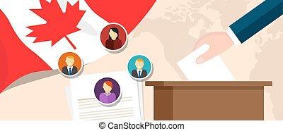 voto, canada, politico, membro, o, democrazia, presidente, parlamento, referendum, libertà, selezione, elezione, processo