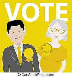 voto, candidatos, político, independiente