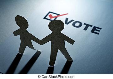 voto, catena carta, uomini